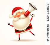 santa claus with megaphone.... | Shutterstock .eps vector #1224333838
