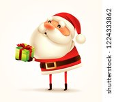 santa claus with gift present.... | Shutterstock .eps vector #1224333862