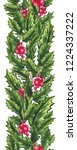 seamless border of holly and... | Shutterstock . vector #1224337222