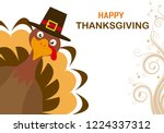 thanksgiving day card. turkey... | Shutterstock .eps vector #1224337312