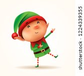 little elf greets. isolated.  | Shutterstock .eps vector #1224339355