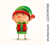 little elf with gift present.... | Shutterstock .eps vector #1224339358