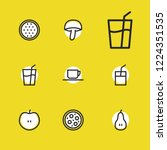 meal icons set with pear ...