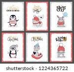 set of winter animals with... | Shutterstock .eps vector #1224365722