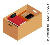 box full of stuff. moving... | Shutterstock .eps vector #1224377275