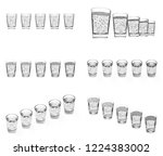 five cups with carbonated water ... | Shutterstock . vector #1224383002