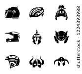 crash helmet icons set. simple... | Shutterstock .eps vector #1224393988