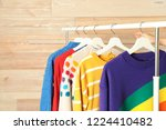 collection of warm sweaters... | Shutterstock . vector #1224410482