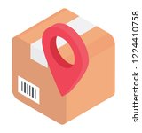 a pin pointer on a package... | Shutterstock .eps vector #1224410758