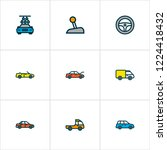 automobile icons colored line... | Shutterstock .eps vector #1224418432