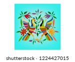 ethnic mexican tapestry with... | Shutterstock .eps vector #1224427015