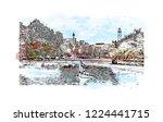 building view with landmark of... | Shutterstock .eps vector #1224441715