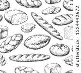 Bread Seamless Pattern. Drawin...