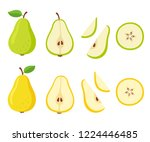 green and yellow pear cartoon... | Shutterstock .eps vector #1224446485