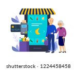 shopping in store  supermarket. ... | Shutterstock .eps vector #1224458458