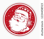 christmas red round sign  stamp ... | Shutterstock .eps vector #1224458515