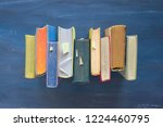 row of old books  flat lay ... | Shutterstock . vector #1224460795