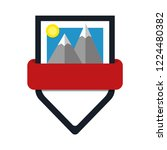 shield with ribbon  mountains ... | Shutterstock .eps vector #1224480382