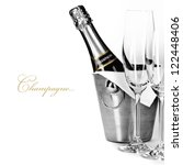 champagne bottle in cooler and... | Shutterstock . vector #122448406