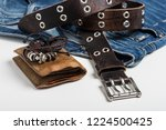 blue jeans and men accessories. ... | Shutterstock . vector #1224500425
