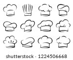black hand drawn isolated chef... | Shutterstock . vector #1224506668