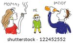 child's drawing of his family.   Shutterstock . vector #122452552