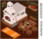interior of russian village... | Shutterstock .eps vector #1224533188