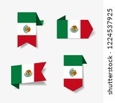mexican flag stickers and... | Shutterstock .eps vector #1224537925