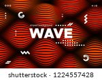 3d poster with wave stripes....   Shutterstock .eps vector #1224557428