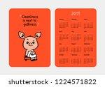 cute pink pig cartoon character.... | Shutterstock .eps vector #1224571822