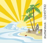 tropical palm on island with... | Shutterstock . vector #122457532