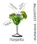 margarita cocktail recipe... | Shutterstock .eps vector #1224577798