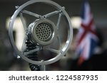 old vintage microphone with ... | Shutterstock . vector #1224587935