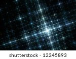 Grid of Blue City Lights at Night Fractal Illustration - stock photo