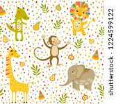 seamless baby pattern with lion ...   Shutterstock .eps vector #1224599122
