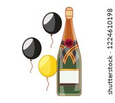 bottle of champagne with... | Shutterstock .eps vector #1224610198