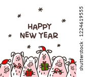 happy new year pig greeting... | Shutterstock .eps vector #1224619555
