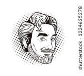 pop art man face black and white   Shutterstock .eps vector #1224635278