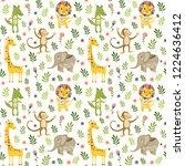 seamless baby pattern with lion ... | Shutterstock .eps vector #1224636412