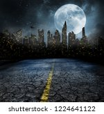 city lights in night and old... | Shutterstock . vector #1224641122