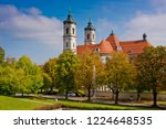 view of a church in a typical... | Shutterstock . vector #1224648535