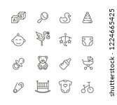 baby related icons  thin vector ... | Shutterstock .eps vector #1224665425