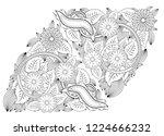 henna tattoo doodle elements on ... | Shutterstock .eps vector #1224666232