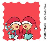 couple santa clause sending...   Shutterstock .eps vector #1224680962
