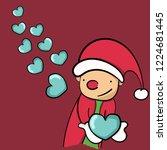 a happy santa clause sending...   Shutterstock .eps vector #1224681445