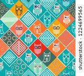 owls seamless pattern | Shutterstock .eps vector #1224699565