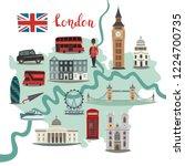 london illustrated map vector.... | Shutterstock .eps vector #1224700735