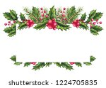 festive frame with watercolor... | Shutterstock . vector #1224705835