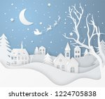 vector winter night landscape... | Shutterstock .eps vector #1224705838