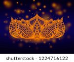 gold hand drawn lotus flower on ... | Shutterstock .eps vector #1224716122